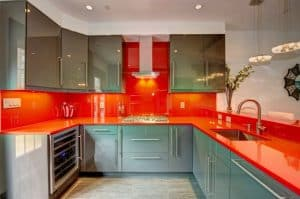 red kitchen countertops