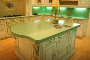 green kitchen countertops