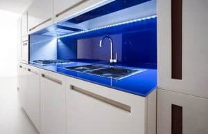 blue countertops